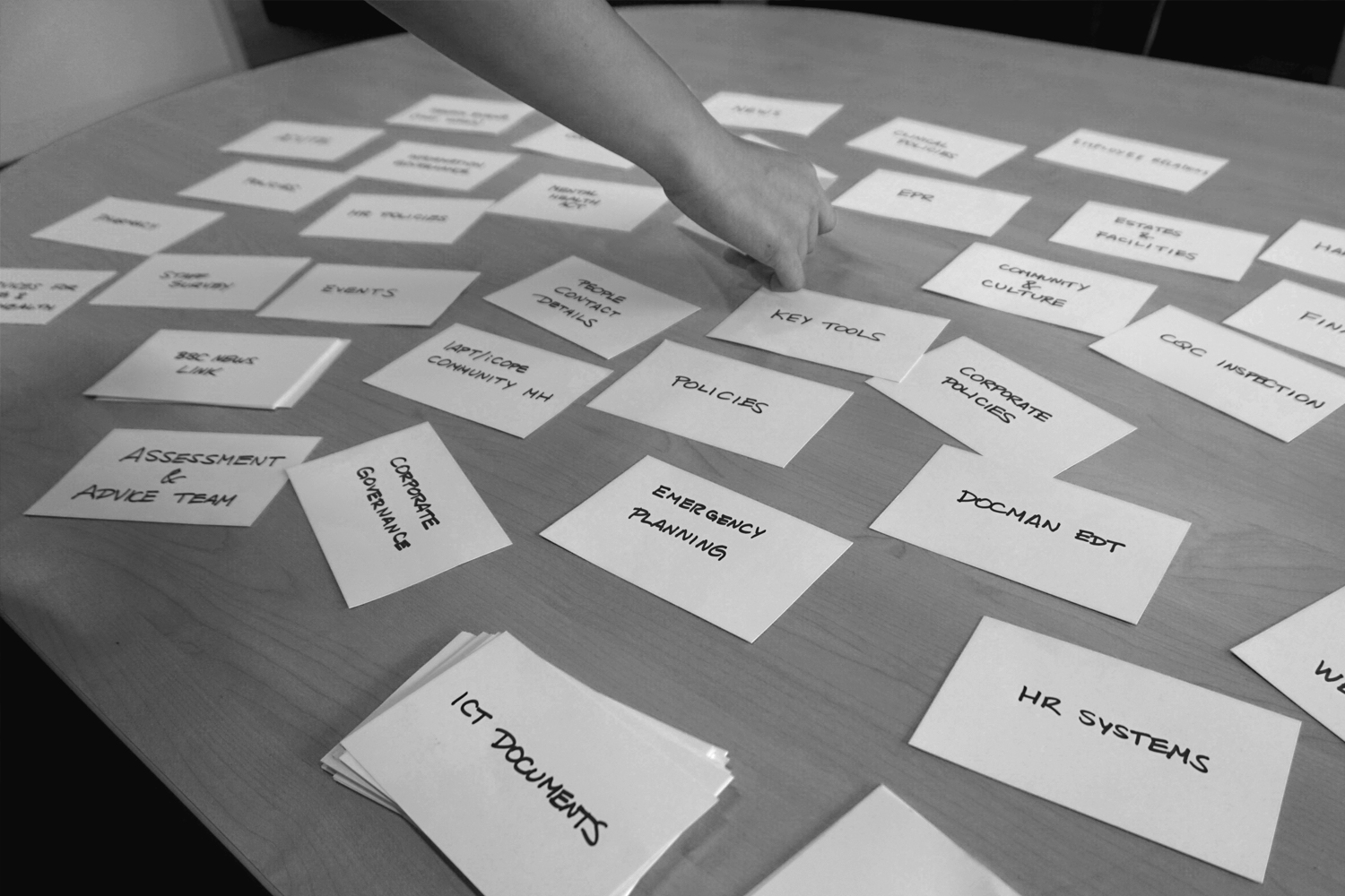 Users going through a card sorting exercise.